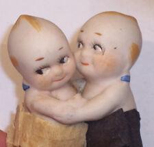"Adorable Antique Bisque Kewpie Doll Couple Wedding Cake Topper 2 1/4"" Ex Cond."