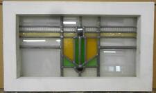 "OLD ENGLISH LEADED STAINED GLASS WINDOW Nice Geometric 20.5"" x 12.25"""
