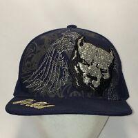 aaf5b61f978 Pit Bull Glitter Dog Hat Blue Baseball Cap Cool Fitted Hats sz S Mens T41  S8009