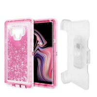 For Samsung Galaxy Note 9 Glitter Defender w/Clip Fit Otterbox Case Cover Pink