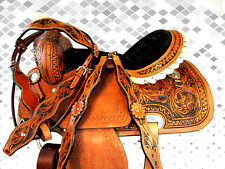 USED 15 16 SNAKE FLORAL TOOLED RODEO TRAIL PLEASURE BARREL RACING WESTERN SADDLE