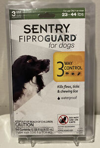 SENTRY FIPROGUARD FOR DOGS 23-44 LBS FLEA + TICK CONTROL 3 DOSES