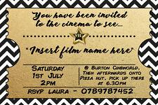 Personalised Cinema Movie Film Night Kids Birthday Party Invites + envelopes C2