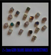 USA 20 Pieces MIXED GEM COLOR SQUARE RHINESTONES Charms Nail Art 3D Crafts