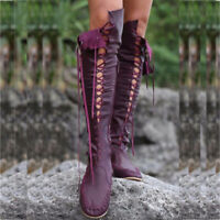 Womens Flats Low Heels Lace Up Mid Calf Boots Ladies Winter Shoes Size