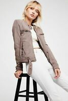 Free People Ride By Knit Moto Soft Belted Jacket Size Medium M Brown $148 NEW