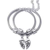 Mom Daughter Matching Silver Heart Charm Bracelet Set Mothers Day Gift USA Ship