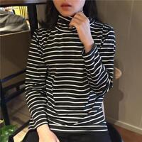 Women Striped Turtleneck T-shirt Long Sleeve Tees Tops