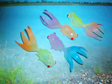 GLOW FISH CO.FOUR 3 in. TOY GOLDFISH,GLOW IN THE DARK SOFT PLASTIC ALL COLORS !