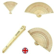 Bamboo Wooden Folding Hand Held Fan Leaf Art Curved Dance Party Holidays Wedding