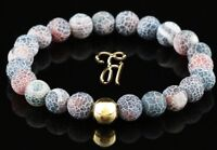 Achat 925er sterling Silber vergoldet Armband Bracelet Perlenarmband rot bunt