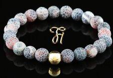 Agate 925 Argent Fin Plaqué or Bracelet de Perles Rouge Coloré