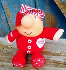 Stuffed Ziggy Doll Striped Red Heart Pajamas Valentine's Day My Heart is Yours