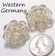 Vintage Signed MADE IN WESTERN GERMANY Clip Earrings, Wired Crystal Cluster