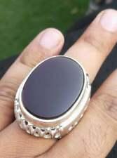 Rare Big Agate Ring Men Yemeni Aqeeq Ring Sterling Silver 925 Black Agate Ring