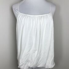 H&M Spaghetti Strap Drapey Blouse M Ivory Solid Stretch Tank Top Womens O17