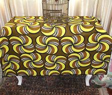 Tessuto Stampa Africana-Giallo/Marrone/Pannello/23x18/Cotone/Bianco/Sew/46W/Batik/Craft