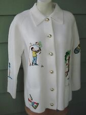 ANDRENO ARGENTI EMBROIDERED WHIMSICAL VINTAGE GOLF COURSE SWEATER Women's Large