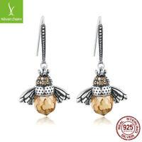 925 Sterling Silver Orange Bee Animal Drop Earrings fit European Luxury Jewelry