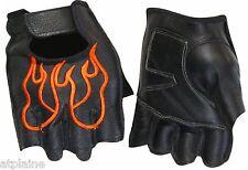Gants moto mitaines cuir noir FLAME Taille XL