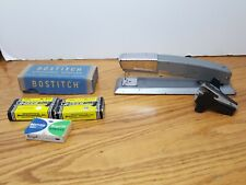 Vtg Bostitch Stapler B 12 Retro Gray Silver Mid Century 4 Boxes Staples Remover