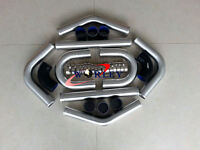 "2.5"" 64mm Aluminum Universal Intercooler Turbo Piping pipe Kit + Black hose"