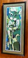 Abstract Print of Cats Green Matted and Framed 11 x 24 inches         TR0497