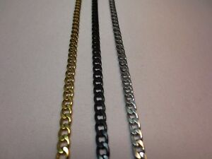 """7""""-42"""" STAINLESS STEEL GOLD SILVER BLACK 5MM CUBAN CURB CHAIN NECKLACE"""