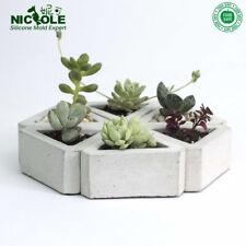 Pot Silicone Mold Cement Concrete Handmade Triangular Group Succulent Plant DIY