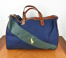 Polo Ralph Lauren Navy Blue Green Stripe Soft Shell Carry On Shoulder Duffle Bag