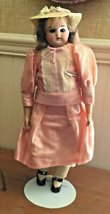 """Antique Doll 14"""" Armand Marseille Germany Mabel Bisque Leather Jointed Hinged"""