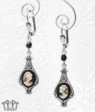 Steampunk IVORY CREAM BLACK CAMEO EARRINGS Victorian Style Antique Silver E11