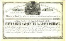 Flint & Pere Marquette Railroad Company. Stock Certificate