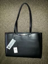 KARL LAGERFELD-PARIS Black Pebbled Leather Handbag Tote-NEW WITH TAGS