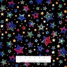 Kids Fabric - Party On Multi-Color Stars on Black - Hoffman YARD