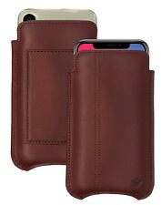IPHONE 12 Pro Funda Marrón Napa Cuero NueVue Anti Pantalla Ceaning Cartera