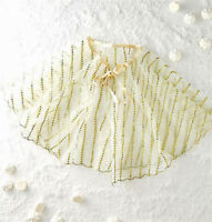 NEW NWT BHLDN ANTHROPOLOGIE WEDDING TULLE MINI CAPE CAPELET IVORY & GOLD 1 SIZE