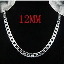 "12MM 925 Sterling Silver Plated Chain Necklace 20"" Men's husband father BF gift"