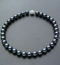 """8mm Genuine Black South Sea Shell Pearl Necklace 18"""" Crystal Magnet Clasp AAA"""