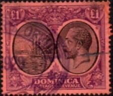 Dominica 1923  KGV  £1 Black & Purple/Red  SG.91 Used   (Repaired Tear)