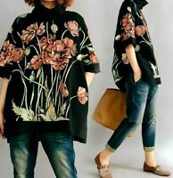Black  Floaty Arty Flower  Long Layer Loose Sweater Pockets Jumper Tunic Top 12