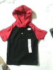 New Toddler Boys Jersey Raglan Hoodie Size 2T Black &Red Shirt Short Sleeve