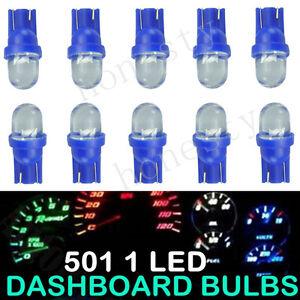 10 X T10 Car 1 LED Side Dashboard Wedge Light Bulb License Plate Lamp Blue 12V