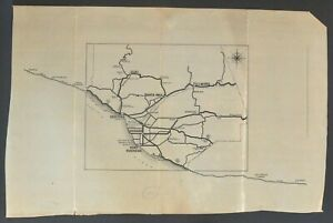 "Antique Original Manuscript Map Of Ventura County California 22"" X 35.5"""