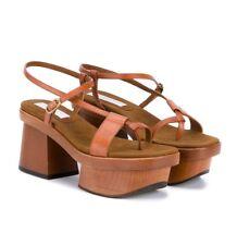 c7e1c957d1e6 NEW 9   39 Stella McCartney Altea Wood Faux Brown Leather Platform Sandal   995