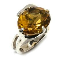 Aaa+++ Citrine Natural Gemstone Handmade 925 Sterling Silver Ring Size 7 SR-236