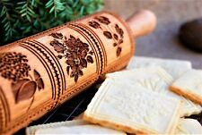 Carved Rolling Pin Flower Embossed Dough Roller Wooden Engraved Rolling Molds