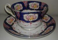 Salisbury Teacup and Saucer Imari Style Cobalt Blue Pink