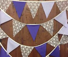 Traditional Wedding Bunting 34ft 58 Ivory Lace, Lilac& Purple Flags Natural Tape