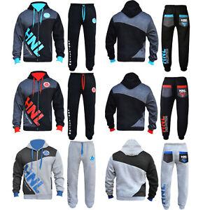 New Mens Jogging Zipped Suits Gym Fleece Hooded Tracksuits S M L XL 2XL 3XL 4XL